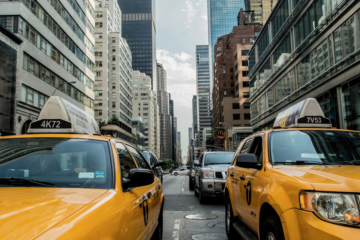 Taxi cab on New York roads